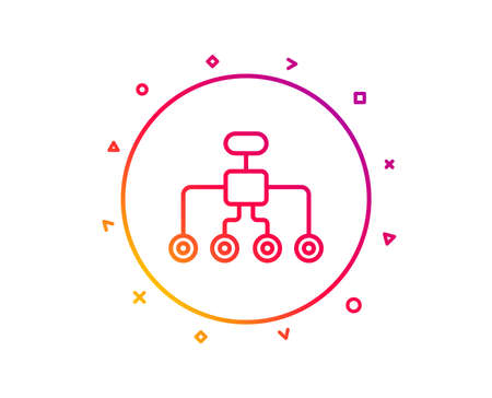 Restructuring line icon. Business architecture sign. Delegate symbol. Gradient pattern line button. Restructuring icon design. Geometric shapes. Vector Zdjęcie Seryjne - 112888314