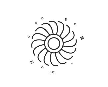 Fan engine line icon. Jet turbine sign. Ventilator symbol. Geometric shapes. Random cross elements. Linear Fan engine icon design. Vector Illustration