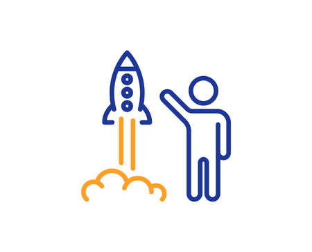 Launch project line icon. Startup rocket sign. Innovation symbol. Colorful outline concept. Blue and orange thin line color icon. Launch project Vector