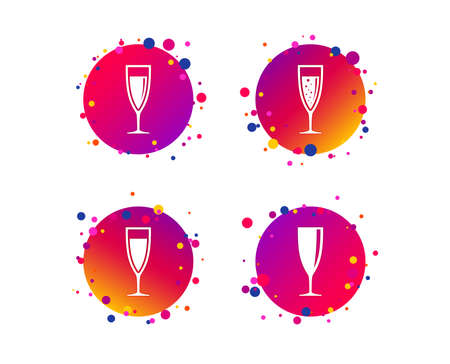 Champagne wine glasses icons. Alcohol drinks sign symbols. Sparkling wine with bubbles. Gradient circle buttons with icons. Random dots design. Vector Illustration