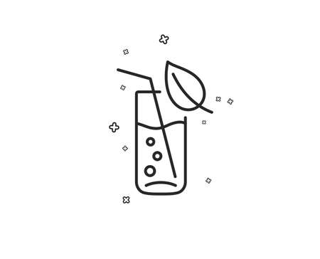 Water glass line icon. Soda aqua drink sign. Drop symbol. Geometric shapes. Random cross elements. Linear Water glass icon design. Vector Çizim
