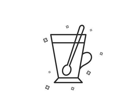 Cup with spoon line icon. Fresh beverage sign. Latte or Coffee symbol. Geometric shapes. Random cross elements. Linear Tea mug icon design. Vector