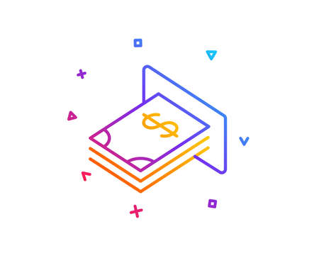 Cash money line icon. Banking currency sign. Dollar or USD symbol. Gradient line button. ATM money icon design. Colorful geometric shapes. Vector