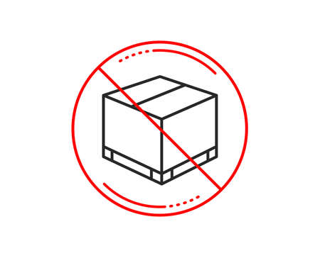 No or stop sign. Parcel box line icon. Logistics delivery sign. Package tracking symbol. Caution prohibited ban stop symbol. No  icon design.  Vector Illusztráció