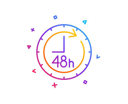 48 hours line icon. Delivery service sign. Gradient line button. 48 hours icon design. Colorful geometric shapes. Vector