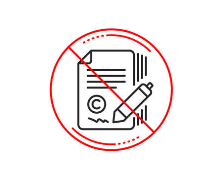 No or stop sign. Copywriting line icon. Ð¡opyright signature sign. Feedback symbol. Caution prohibited ban stop symbol. No  icon design.  Vector Ilustração