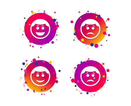 Circle smile face icons. Happy, sad, cry signs. Happy smiley chat symbol. Sadness depression and crying signs. Gradient circle buttons with icons. Random dots design. Vector