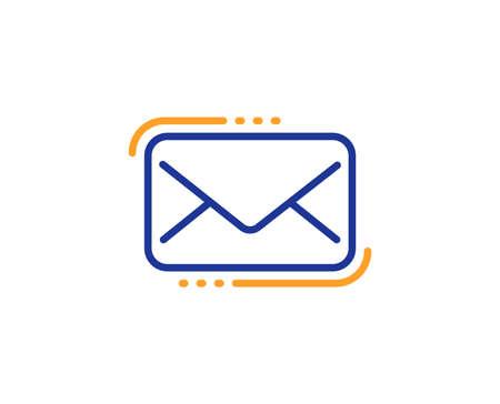 Messenger Mail line icon. New newsletter sign. Phone E-mail symbol. Colorful outline concept. Blue and orange thin line color Messenger Mail icon. Vector Illustration