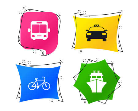 Transport icons. Taxi car, Bicycle, Public bus and Ship signs. Shipping delivery symbol. Family vehicle sign. Geometric colorful tags. Banners with flat icons. Trendy design. Vector Ilustração