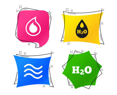 H2O Water drop icons. Tear or Oil drop symbols. Geometric colorful tags. Banners with flat icons. Trendy design. Vector Ilustrace