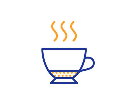 Espresso coffee icon. Hot drink sign. Beverage symbol. Colorful outline concept. Blue and orange thin line color icon. Espresso Vector Illustration