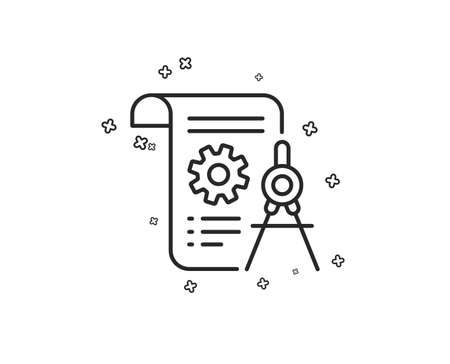 Divider document line icon. Engineering cogwheel tool sign. Cog gear symbol. Geometric shapes. Random cross elements. Linear Divider document icon design. Vector