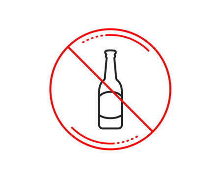 No or stop sign. Beer bottle line icon. Pub Craft beer sign. Brewery beverage symbol. Caution prohibited ban stop symbol. No  icon design.  Vector