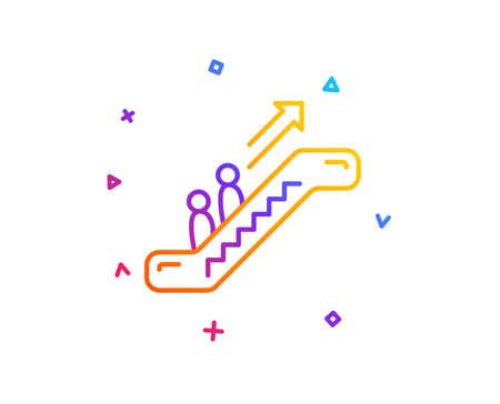 Escalator line icon. Elevator sign. Shopping stairway symbol. Gradient line button. Escalator icon design. Colorful geometric shapes. Vector