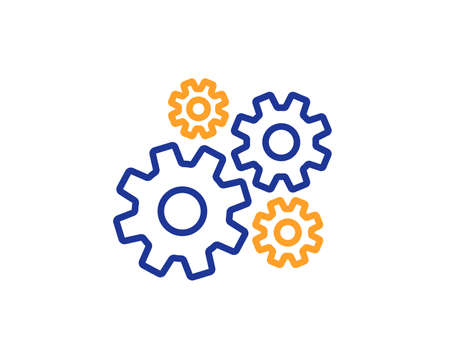 Cogwheel line icon. Engineering tool sign. Cog gear symbol. Colorful outline concept. Blue and orange thin line color Cogwheel icon. Vector