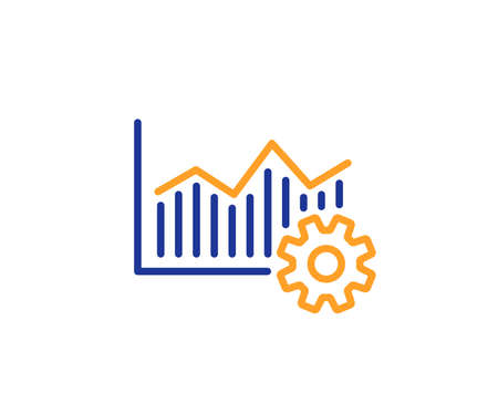Operational excellence line icon. Cogwheel sign. Colorful outline concept. Blue and orange thin line color icon. Operational excellence Vector