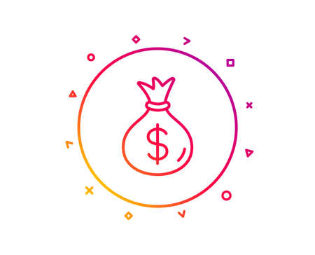 Money bag line icon. Cash Banking currency sign. Dollar or USD symbol. Gradient pattern line button. Money bag icon design. Geometric shapes. Vector