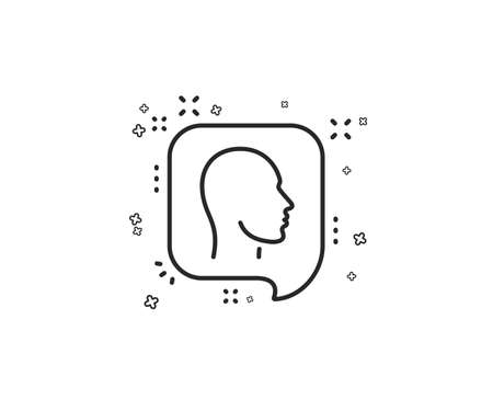 Head line icon. Human profile speech bubble sign. Facial identification symbol. Geometric shapes. Random cross elements. Linear Head icon design. Vector Illustration