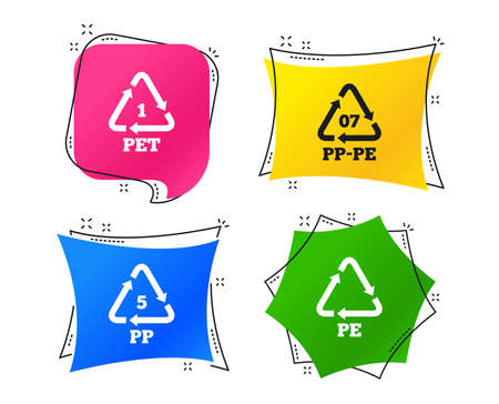 PET 1, PP-pe 07, PP 5 and PE icons. High-density Polyethylene terephthalate sign. Recycling symbol. Geometric colorful tags. Banners with flat icons. Trendy design. Vector Illustration