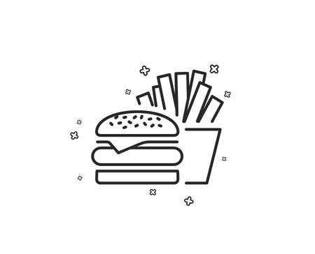 Burger with fries line icon. Fast food restaurant sign. Hamburger or cheeseburger symbol. Geometric shapes. Random cross elements. Linear Burger icon design. Vector