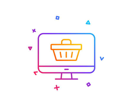 Online Shopping cart line icon. Monitor sign. Supermarket basket symbol. Gradient line button. Web shop icon design. Colorful geometric shapes. Vector