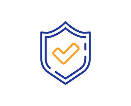 Check mark line icon. Accepted or Approve sign. Tick shield symbol. Colorful outline concept. Blue and orange thin line color Confirmed icon. Vector