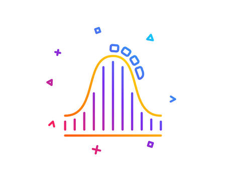 Roller coaster line icon. Amusement park sign. Carousels symbol. Gradient line button. Roller coaster icon design. Colorful geometric shapes. Vector