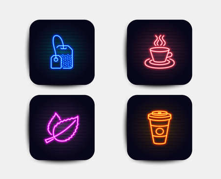 Neon set of Tea bag, Mint leaves and Tea cup icons. Takeaway coffee sign. Brew hot drink, Mentha herbal, Coffee mug. Hot latte drink. Neon icons. Glowing light banners. Vector