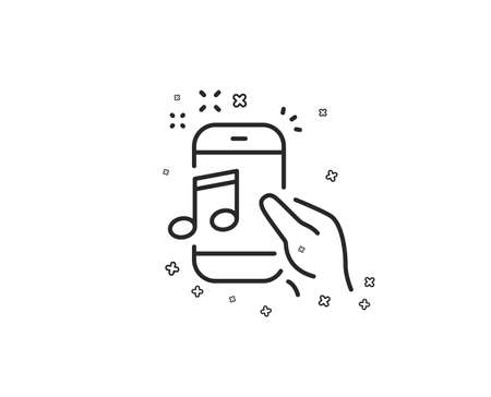 Music in phone line icon. Mobile radio sign. Musical device symbol. Geometric shapes. Random cross elements. Linear Music phone icon design. Vector