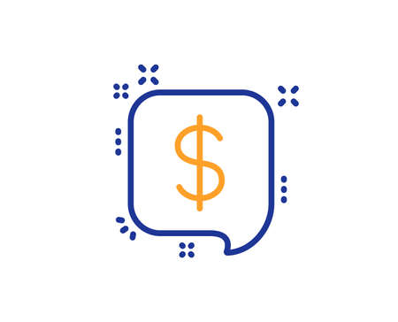 Payment received line icon. Dollar sign. Finance symbol. Colorful outline concept. Blue and orange thin line color icon. Payment message Vector