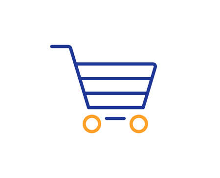 Shopping cart line icon. Online buying sign. Supermarket basket symbol. Colorful outline concept. Blue and orange thin line color icon. Market sale Vector