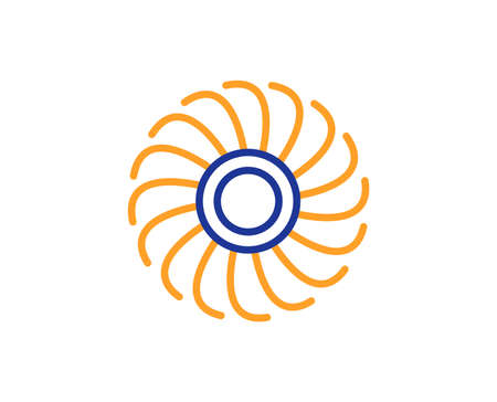 Fan engine line icon. Jet turbine sign. Ventilator symbol. Colorful outline concept. Blue and orange thin line color Fan engine icon. Vector 写真素材 - 112873237