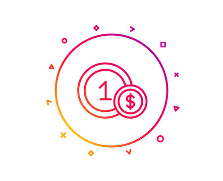 Coins line icon. Money sign. Dollar currency symbol. Cash payment method. Gradient pattern line button. Usd coins icon design. Geometric shapes. Vector