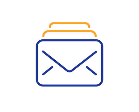 Mail line icon. New Messages correspondence sign. E-mail symbol. Colorful outline concept. Blue and orange thin line color icon. Mail Vector