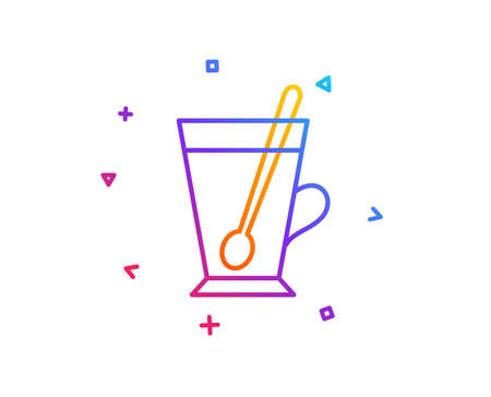 Cup with spoon line icon. Fresh beverage sign. Latte or Coffee symbol. Gradient line button. Tea mug icon design. Colorful geometric shapes. Vector