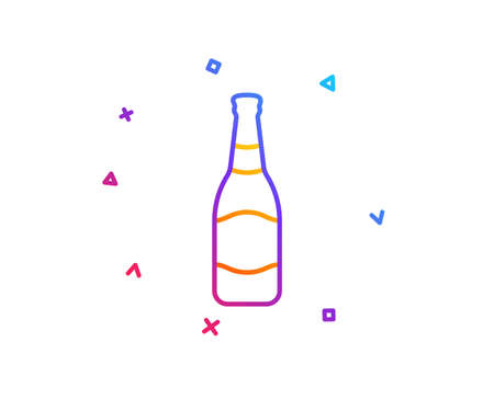 Beer bottle line icon. Pub Craft beer sign. Brewery beverage symbol. Gradient line button. Beer bottle icon design. Colorful geometric shapes. Vector