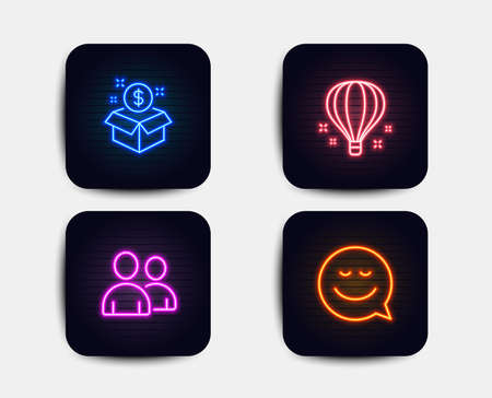 Neon set of Air balloon, Post package and Users icons. Smile sign. Sky travelling, Postbox, Couple of people. Chat emotion. Neon icons. Glowing light banners. Vector Illustration