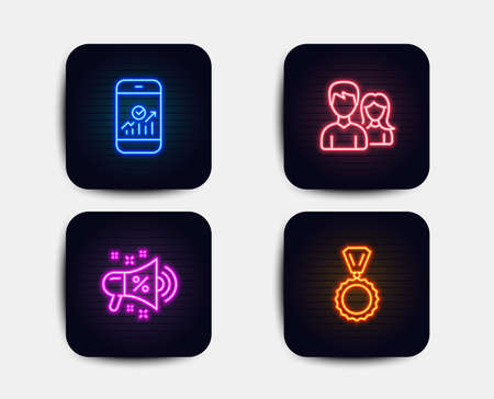 Neon set of Teamwork, Smartphone statistics and Sale megaphone icons. Medal sign. Man with woman, Mobile business, Shopping. Winner. Neon icons. Glowing light banners. Vector