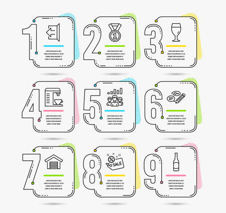 Timeline infographic. Set of Coffee machine, Beer glass and Sign out icons. Parking garage, Sale and Best rank signs. Teamwork results, Keywords and Beer symbols. Vector