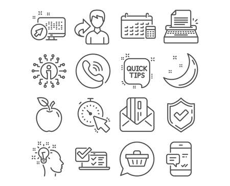 Set of Idea, Quick tips and Typewriter icons. Credit card, Timer and Online survey signs. Smartphone notification, Calendar and Shopping cart symbols. Creative designer, Helpful tricks, Writer machine