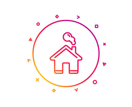 Home line icon. House sign. Building or Homepage symbol. Gradient pattern line button. Home icon design. Geometric shapes. Vector 向量圖像