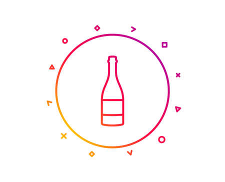 Champagne bottle line icon. Anniversary alcohol sign. Celebration event drink. Gradient pattern line button. Champagne bottle icon design. Geometric shapes. Vector