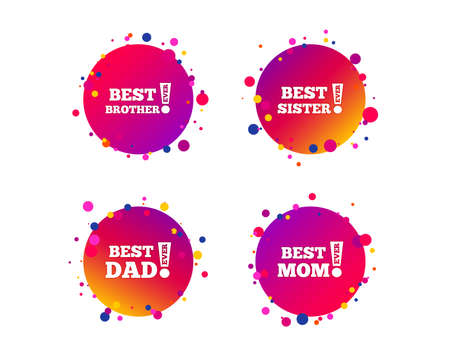 Best mom and dad, brother and sister icons. Award with exclamation symbols. Gradient circle buttons with icons. Random dots design. Vector