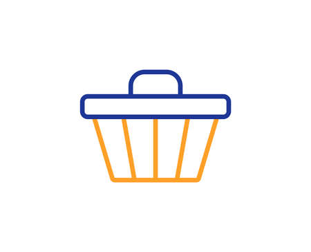 Shopping cart line icon. Online buying sign. Supermarket basket symbol. Colorful outline concept. Blue and orange thin line color icon. Shop cart Vector
