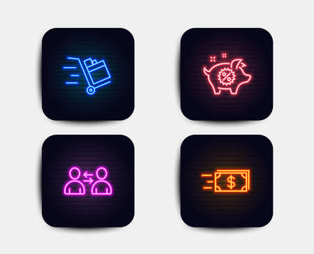 Neon glow lights. Set of Push cart, Communication and Piggy sale icons. Money transfer sign. Express delivery, Users talking, Discounts. Cash delivery.  Neon icons. Glowing light banners. Vector Illustration