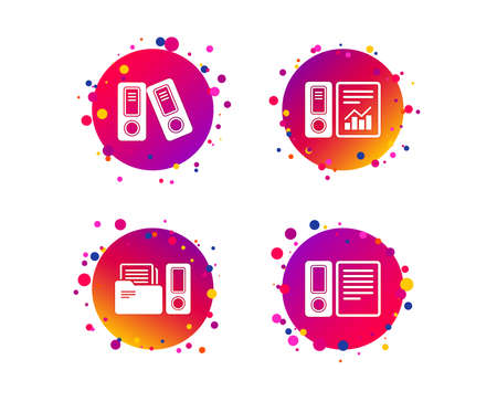 Accounting report icons. Document storage in folders sign symbols. Gradient circle buttons with icons. Random dots design. Vector