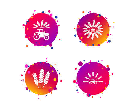 Tractor icons. Wreath of Wheat corn signs. Agricultural industry transport symbols. Gradient circle buttons with icons. Random dots design. Vector Standard-Bild - 112888498