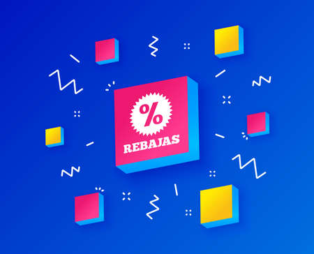 Rebajas - Discounts in Spain sign icon. Star with percentage symbol. Isometric cubes with geometric shapes. Creative shopping banners. Template for design. Vector