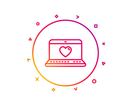 Love dating line icon. Heart in Notebook sign. Valentines day symbol. Gradient pattern line button. Web love icon design. Geometric shapes. Vector Illustration