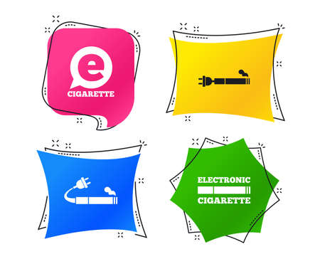 E-Cigarette with plug icons. Electronic smoking symbols. Speech bubble sign. Geometric colorful tags. Banners with flat icons. Trendy design. Vector Ilustracja